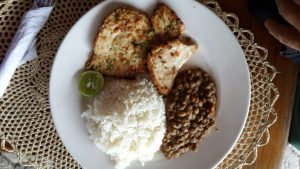 Fish with lentils and rice