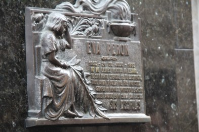 A memorial plate to Eva Peron