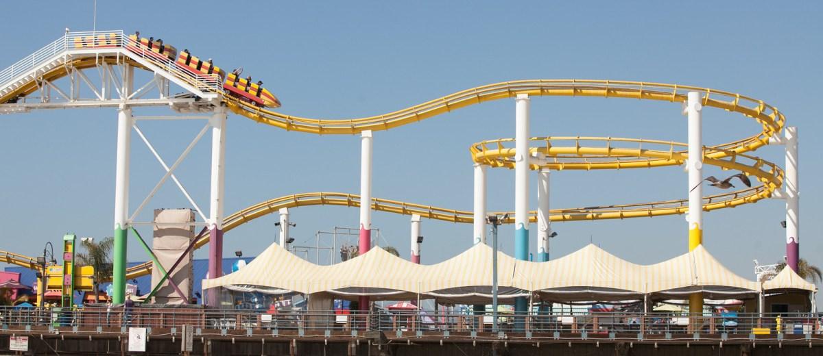 Roller coaster at Santa Monica Pier's Pac Park