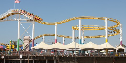 Roller coaster at Santa Monica Pier's Pac Park