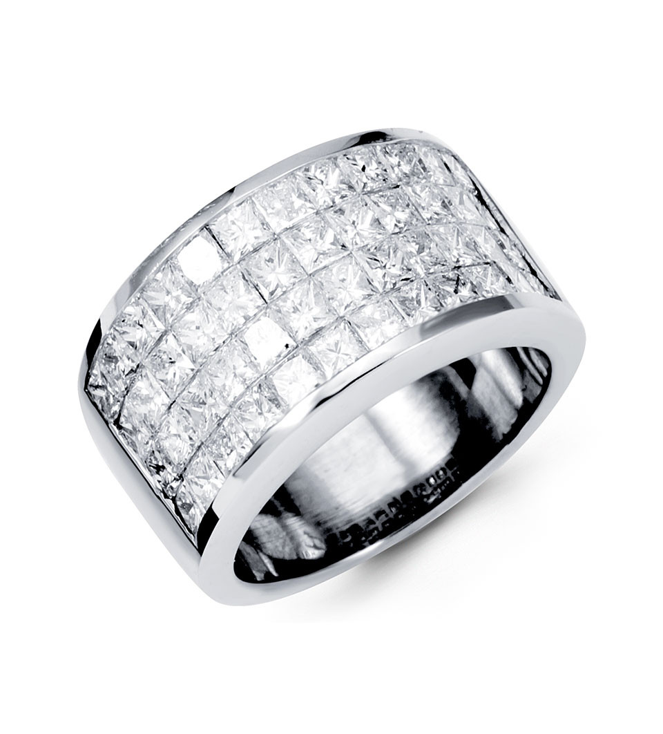 18k white gold extra wide band princess diamond ring wide band wedding rings
