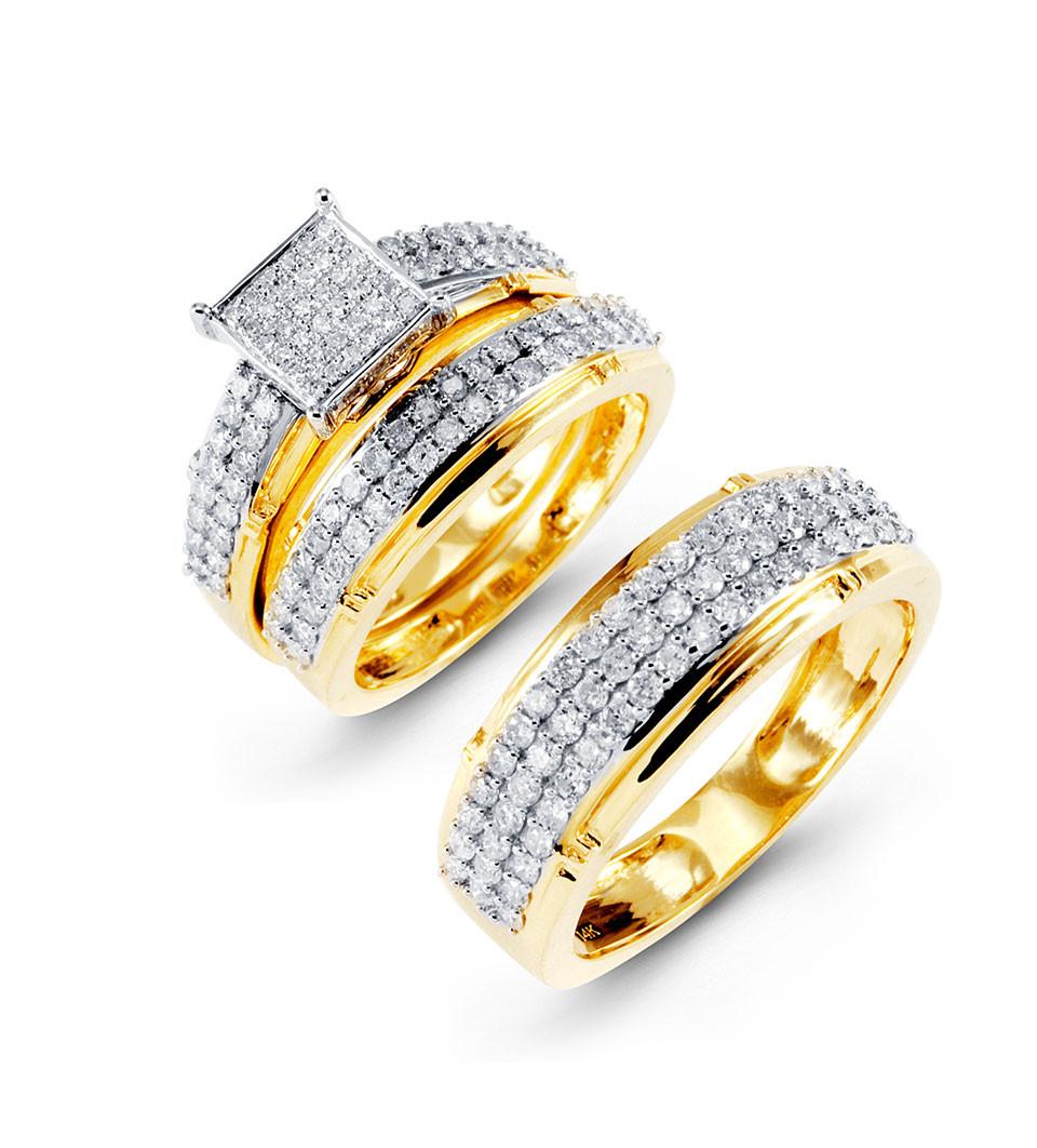 14k yellow gold fancy round diamond wedding rings trio square diamond wedding rings Embrace