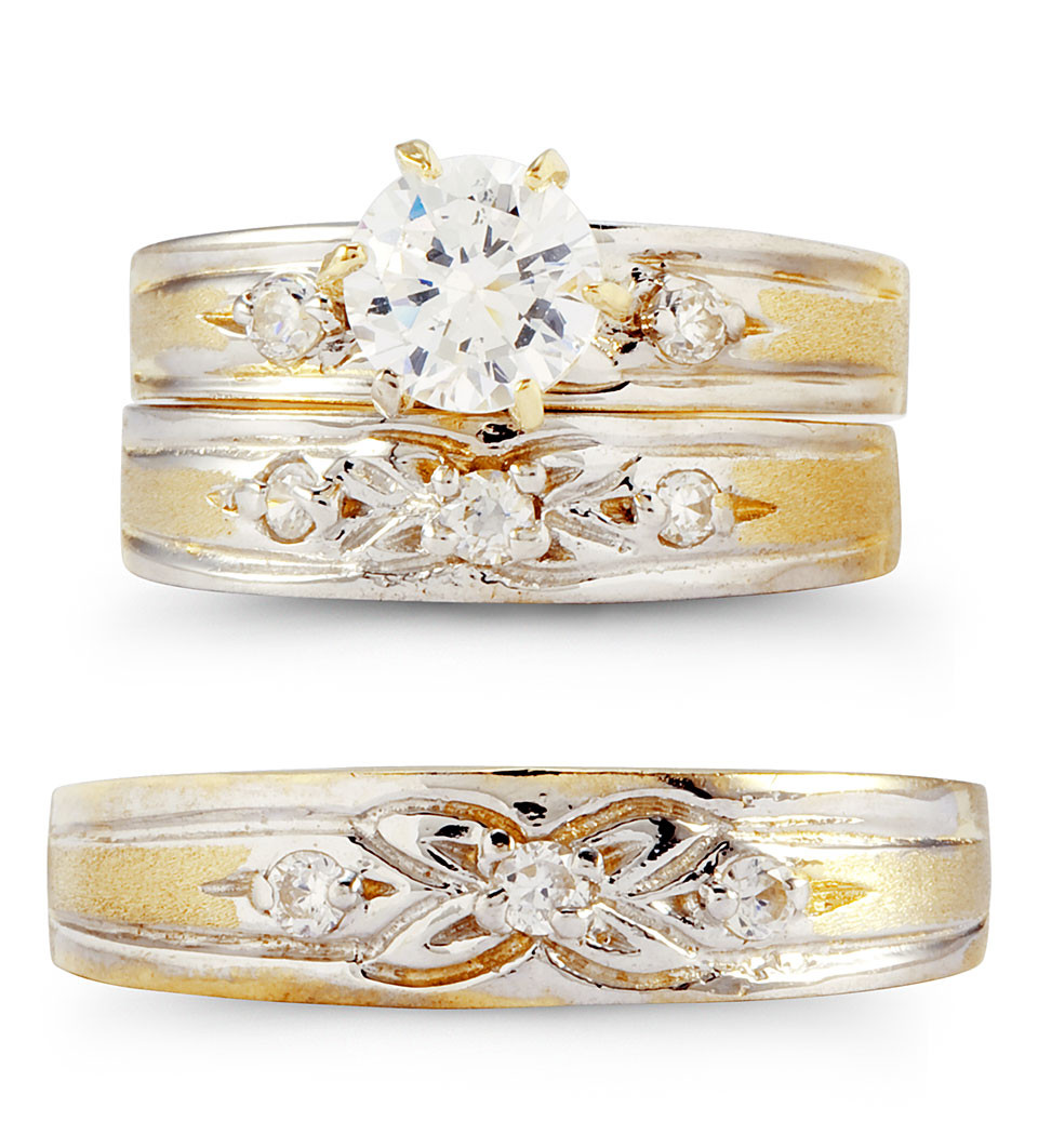 14k two tone gold cubic zirconia flower wedding rings trio wedding rings Spice up your life with this great looking trio of wedding rings