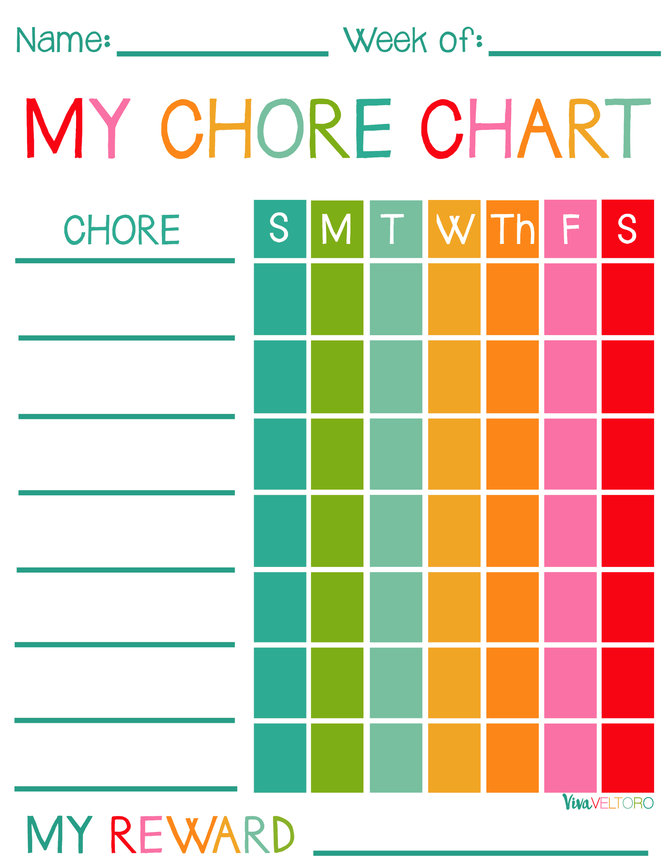 Vibrant image for printable chore charts