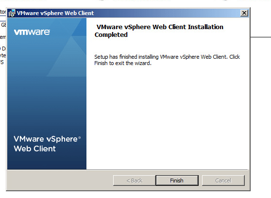 vsphere web client installation completion