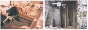 Zwei Sarkophage aus Buntsandsteinblöcken, davon einer mit einer Nachbestattung des späten Mittelalters (Quelle: Grabungsteam)