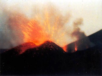 Eruption of Cameroon in 2000. Private photograph taken from Buea.
