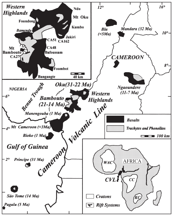 "The Cameroon Volcanic Line showing the CVL, the CASZ and the Benue Through. Also visible is the horseshaped fault zone. Image taken from ""The Cameroon Volcanic Line Revisited: Petrogenesis of Continental Basaltic Magmas from Lithospheric and Asthenospheric Mantle Sources"" by Marzoli et al."