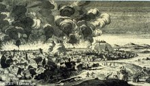 Lisbon seen from the east during the earthquake. Exaggerated fires and damage effects.(Copper engraving, Netherlands, 1756). National Information Service for Earthquake Engineering image library