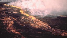 The 1984 eruption of Mauna Loa. This was a sizeable eruption, but far from one of the largest. Photo courtesy of Hawaii Volcano Observatory.