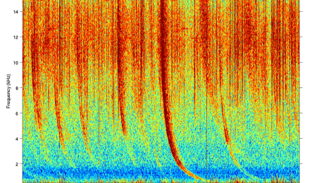 Sferics and whistlers, from Palmer Station,  Antarctica. Sferics are the vertical lines; curved ones are whistlers. Source: wikipedia, Stanford VLF group.