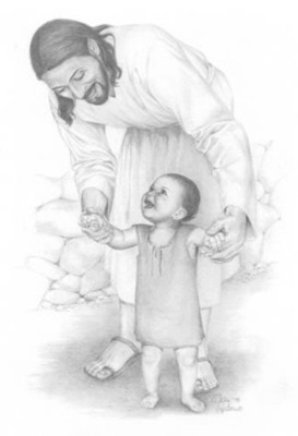 Jesus walking with small child