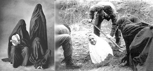 Mujeres con Burka. Mujer en proceso de lapidación