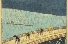 El puente Ōhashi en Atake bajo una lluvia repentina - Utagawa Hiroshige