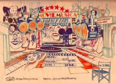 Decorontwerp 1-2-3 show: Hollywood (KRO, 18-12-1984), decor Roland de Groot. Collectie Roland de Groot