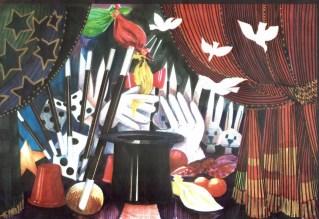 Decorontwerp 1-2-3 show: Magie (KRO, 20-1-1985), decor Roland de Groot. Collectie Roland de Groot