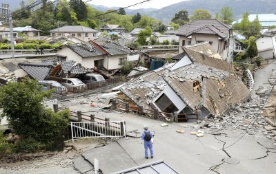 Ozu, Japan - Some Sleep In Cars After 2 Nights Of Quakes Kill 41 In Japan