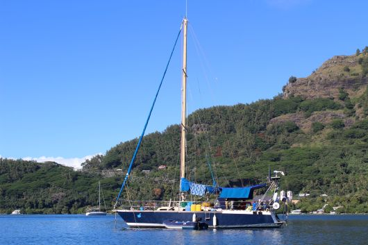 'Vagabond', owned by our friends Carine and Medi. 32 feet in length. Monohull. Steel construction. From France via the Panama Canal.