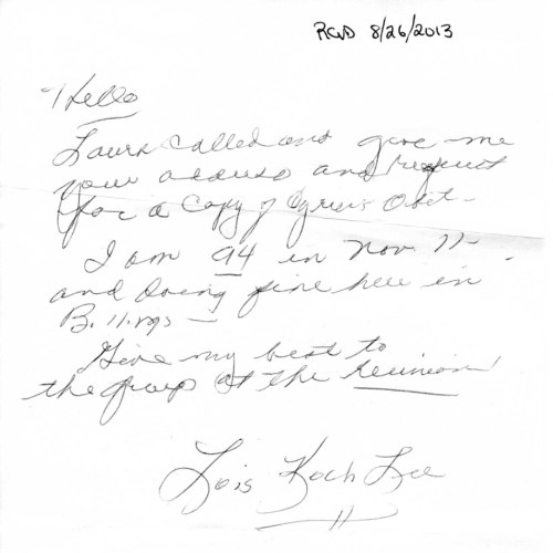 letter with Lee Obit