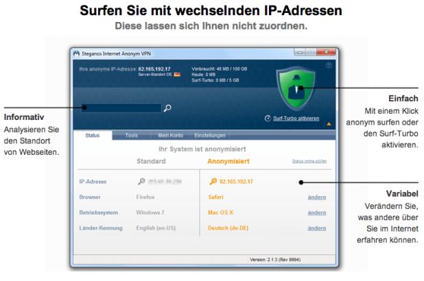 Steganos Internet Anonym VPN Features