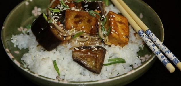 Баклажаны с тофу в соусе терияки