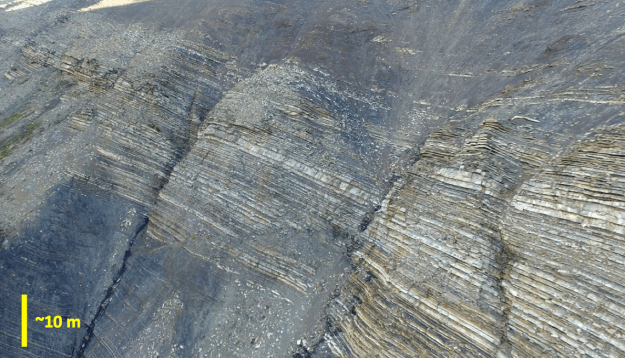 Drone photograph of the south face of Cerro Sol, Tres Pasos Formation, southern Chile.