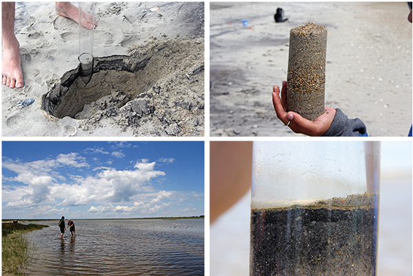 Day 2: Coring the foreshore; Examining coarse layers in foreshore; Coring the back-barrier; Well-developed microbial mat in estuarine deposits