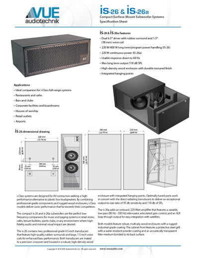 is-26 Compact Subwoofer Data Sheet (pdf)