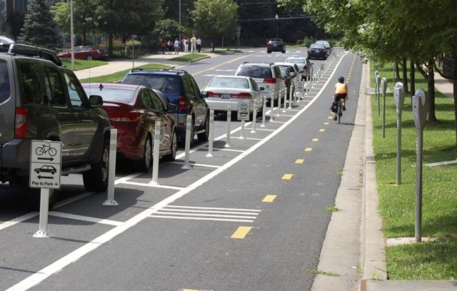 Woodglen Drive Protected Bike Lane image from Montgomery Planning