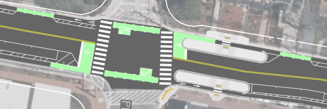 Floating bus stops on proposed Spring St protected bike lanes