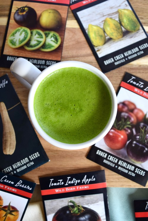 matcha latte and baker creek seeds