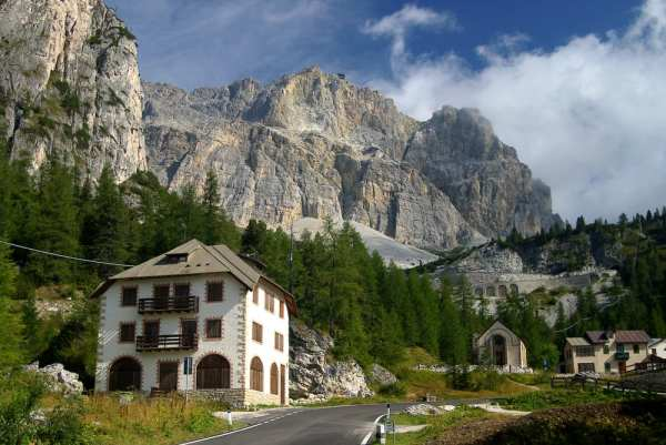 The Falzarego Pass in the mountains of Trentino-Alto Adige