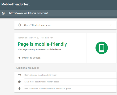 Google's Mobile Friendly Tester