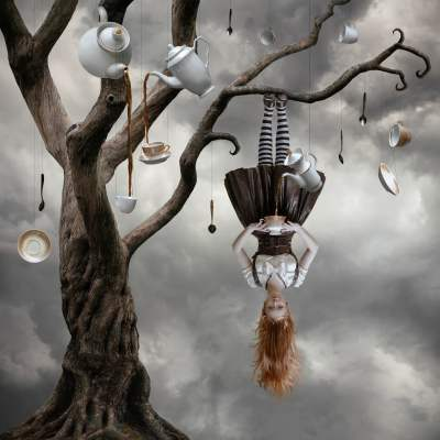 Surreal painting of woman hanging upside down on tree with hanging tea ware HD wallpaper ...