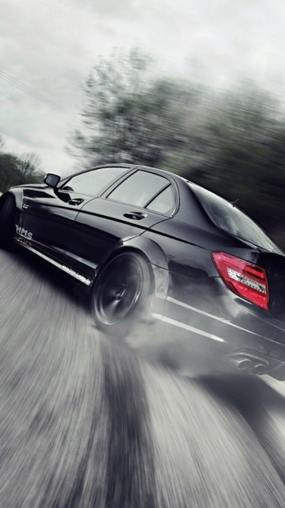Download 1080x1920 Mercedes Benz C Class C63, Black, Drift, Cars Wallpapers for iPhone 8, iPhone ...
