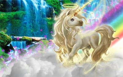 Beautiful 3d Picture Unicorn Silk Clouds Rainbow Wallpaper Hd : Wallpapers13.com