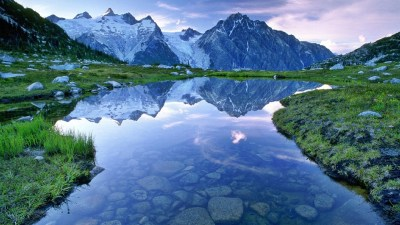 Beautiful Landscape Hd Wallpaper Water Mountains With Snow Sky Clouds Reflection : Wallpapers13.com