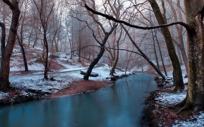 Winter Landscape Calm Mountain River Bare Trees Without Leaves, Forest Trail Desktop Backgrounds ...