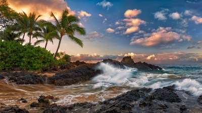 Tropical Landscape Ocean Palm Coast Rock Band The Sky Clouds Maui Hawaii Pacific 3840x2160 ...