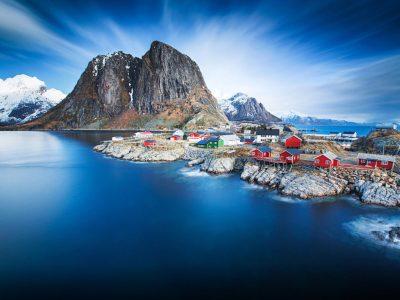 Hamnoy In Blue Norway Lofoten Hd Wallpapers For Desktop : Wallpapers13.com