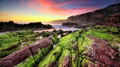 Sea Coast Sunset Rocks Green Moss Waves Indonesia Landscape Photography Hd Wallpaper 2560x1440 ...