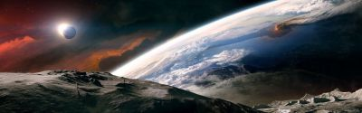 Outer space moon earth tranquility dual monitor wallpaper | 3840x1200 | 9381 | WallpaperUP