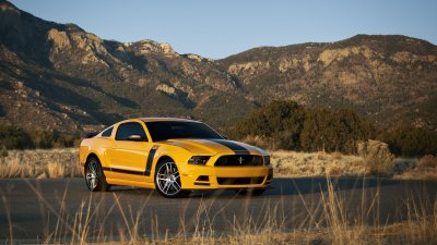 Mountains nature cars Ford Mustang stripes yellow cars muscle car Boss 302 Mustang Boss ...