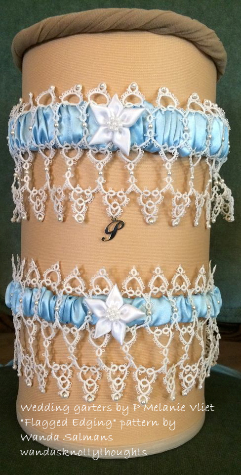 Wedding garters tatted by P. Melanie Vliet using 'Flagged Edging' on wandasknottythoughts