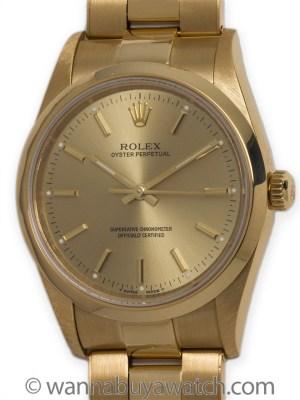 Rolex 18K YG Oyster Perpetual circa 1997