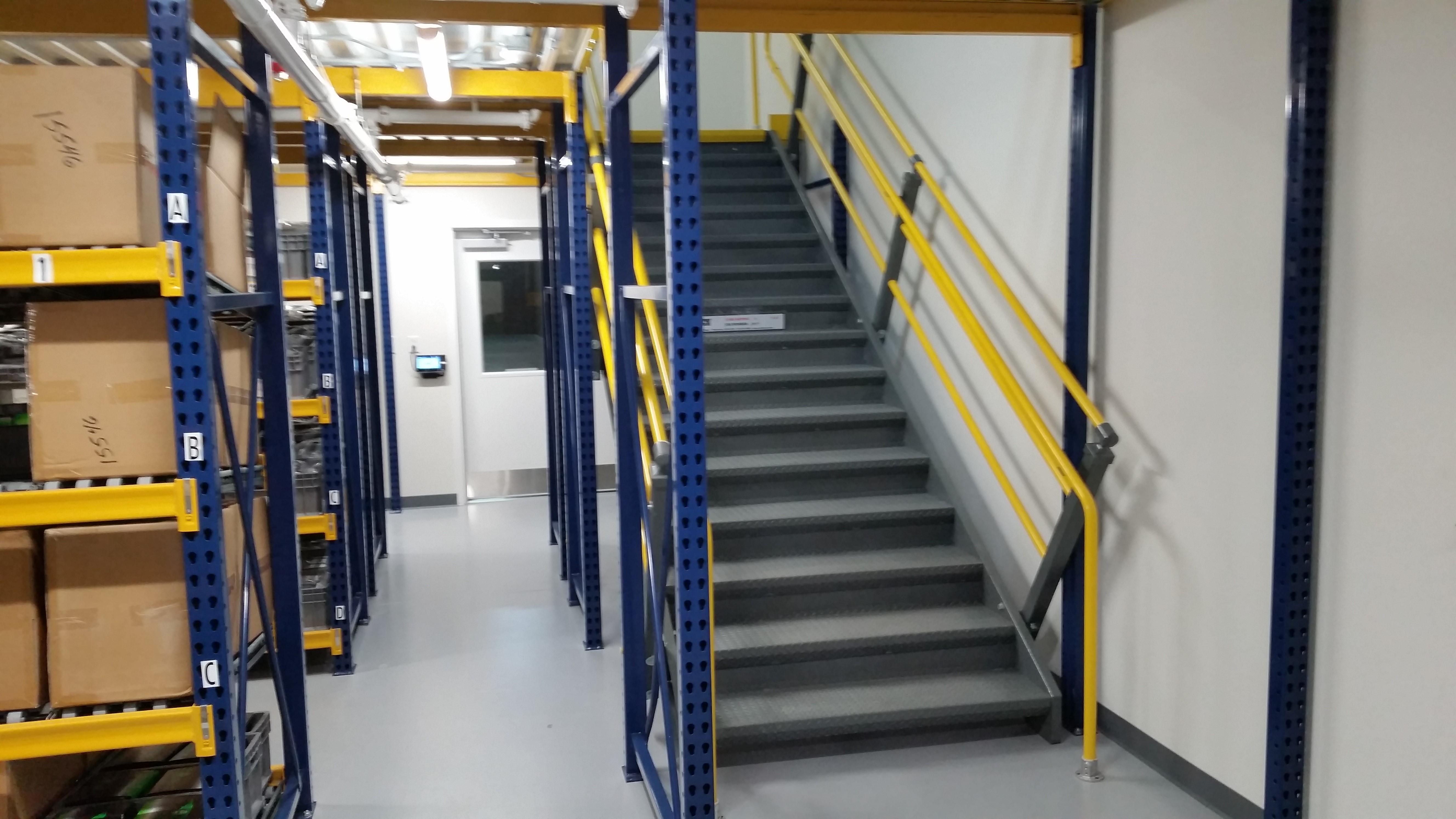Mezzanines warehouse design for Mezzanine guard rail