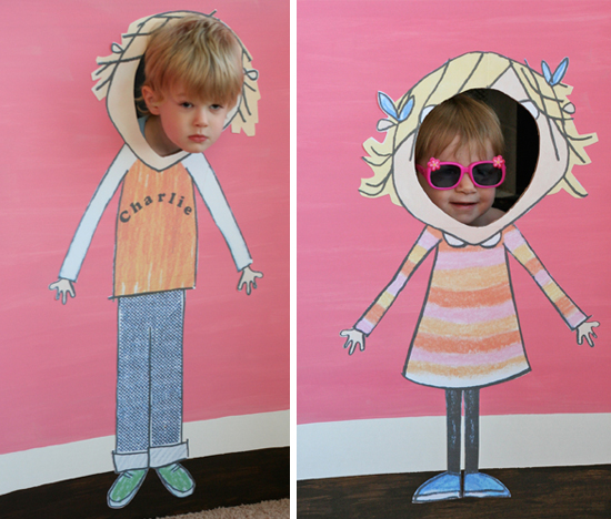 Photo booth for a Charlie and Lola themed birthday party