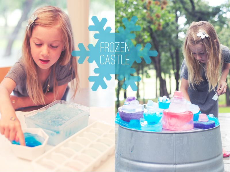 Create a Frozen-themed ice castle. A great outdoor summer activity.