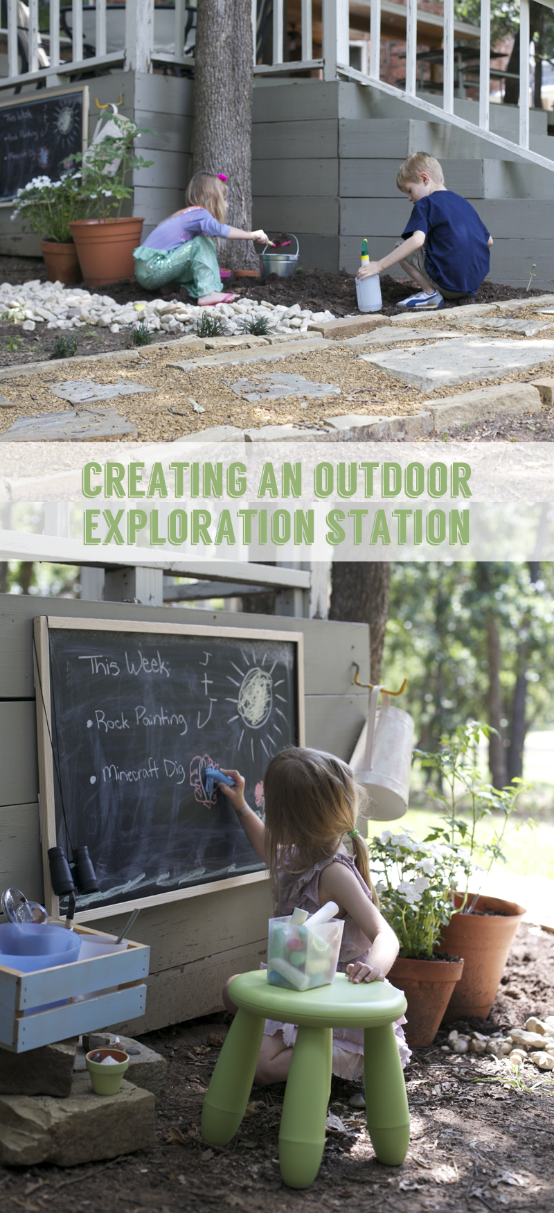 Creating an outdoor exploration station in your backyard.