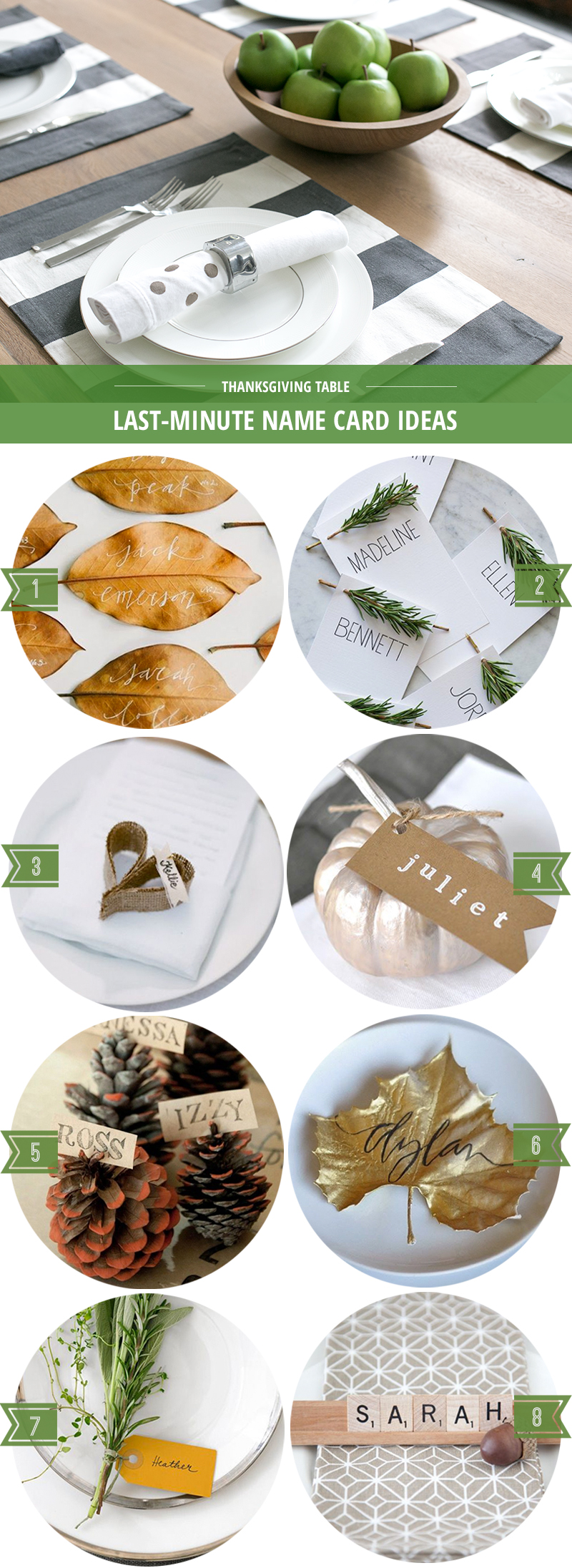 Simple last-minute place card ideas for your Thanksgiving table.